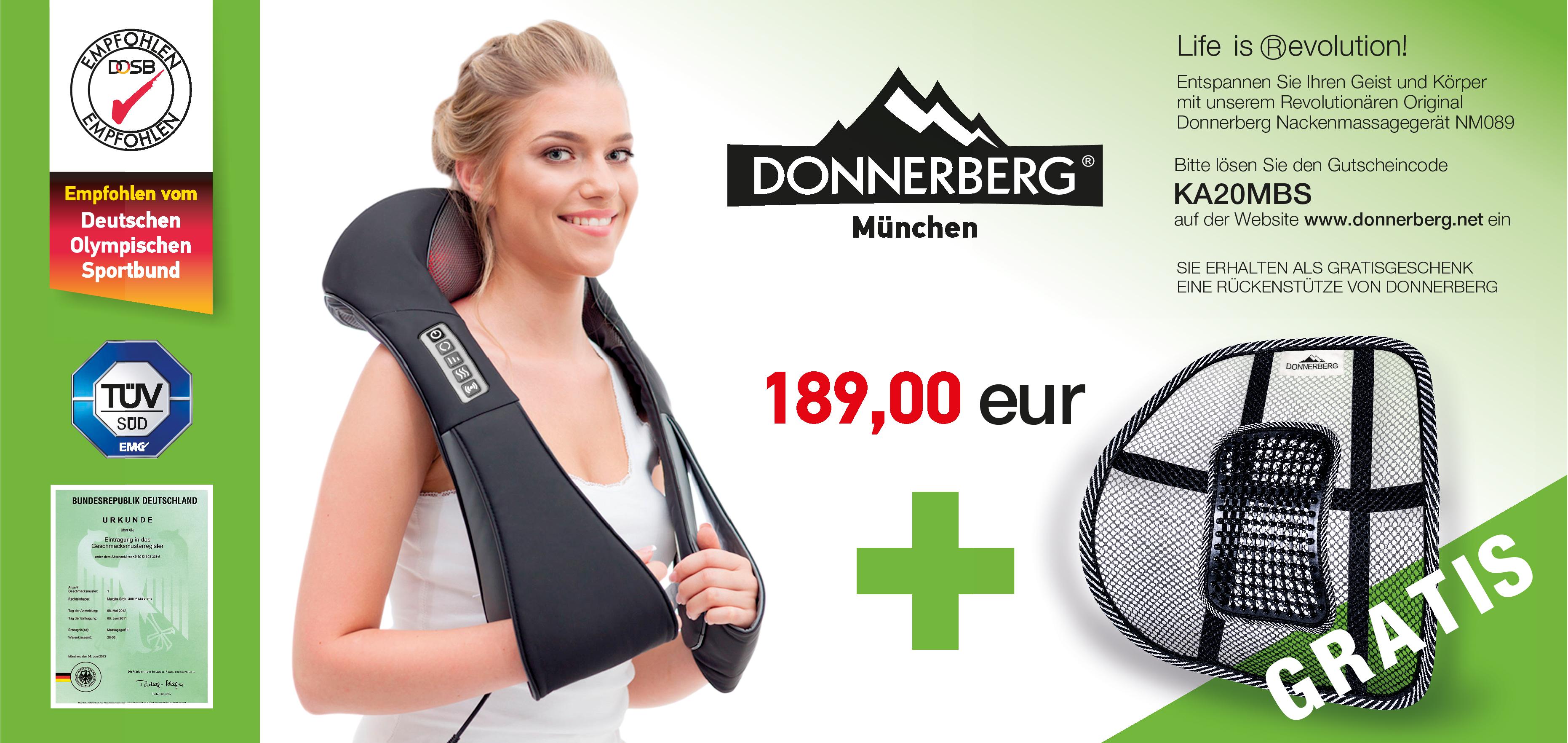 gratis Rückenstütze von Donnerberg Massagegerät